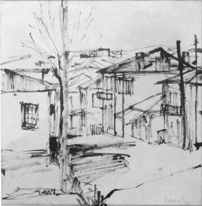 Η οδός Καρπενησίου, 1954. Σχέδιο από το παράθυρο του σπιτιού του γλύπτη στο Αγρίνιο
