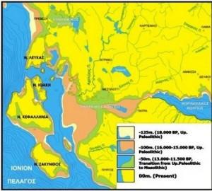 Στο χάρτη αποτυπώνονται οι διαδοχικές ακτογραμμές της Δυτικής Ελλάδας και των Ιονίων νήσων σε διάφορα χρονικά διαστήματα από το μέγιστο της παγετώδους εποχής μέχρι σήμερα, λόγω των κλιματοευστατικών κινήσεων.