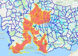 Με κόκκινο χρώμα οι περιοχές που εξαιρούνται